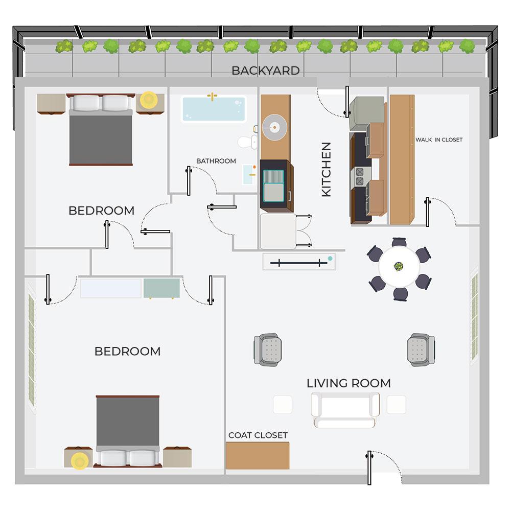 C2 2/1 Duplex w backyard